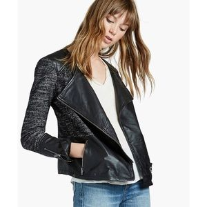 NWT Lucky Brand Genuine Leather Mixed Media Jacket